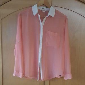 Garage large white pink sheer button down blouse